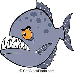 Hungry piranha. Vector illustration eps.