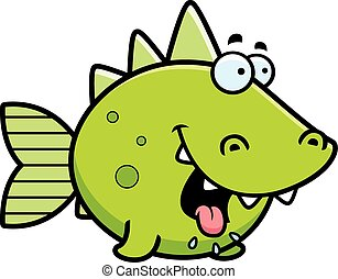 Hungry Prehistoric Fish - A cartoon illustration of a...