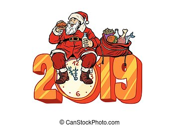 Hungry Santa Claus eating, new year 2019. Pop art retro...