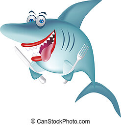 vector illustration of hungry shark with knife and spoon