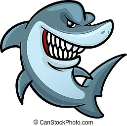 Cartoon hungry shark is jumping out the water for hunting. Funny carnivorous marine animal character for underwater wildlife mascot or t-shirt print design usage
