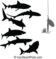 hungry sharks and bait vector silho