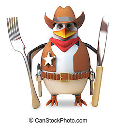 Hungry sheriff penguin the brave cowboy is hungry and holds his knife and fork ready, 3d illustration