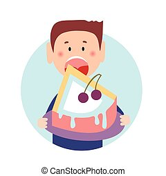 Hungry thick guy taking a big bite of large creamy dessert. Isolated flat illustration on a white backgroud. Cartoon vector image.
