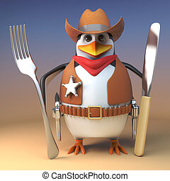 Hungry Wild West sheriff cowboy penguin holds his knife and fork ready for beans, 3d illustration