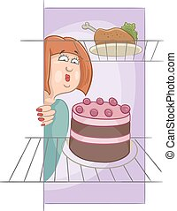 hungry woman on diet cartoon