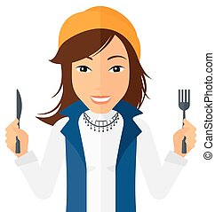 Hungry woman waiting for food. - Hungry woman with fork and ...