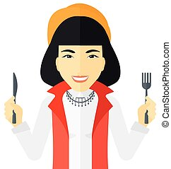 Hungry woman waiting for food. - Hungry woman with fork and...