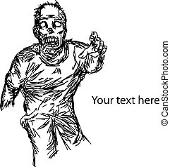 hungry zombie showing his hand used for Halloween with copyspace vector illustration sketch hand drawn with black lines, isolated on white background