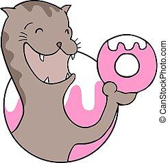 hungy, bagel, gato