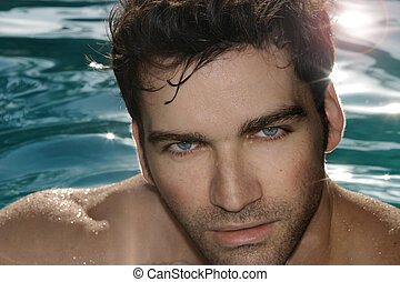 Hunk - Closeup portrait of hot sexy man in pool