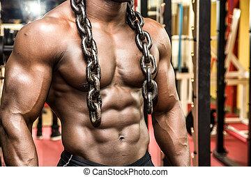 hunky, culturista, negro, atractivo, hierro, posar, macho,...