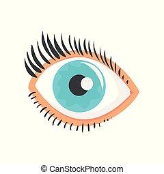 Hunman blue eye with eyelashes cartoon vector Illustration