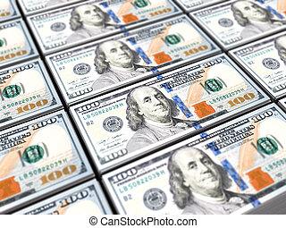 hunred, dollars, billet banque, fond, une
