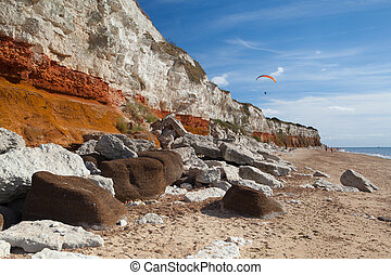 Hunstanton Cliffs in Norfolk. Great Britain. The famous striped cliffs of Hunstanton were formed during the Cretaceous period