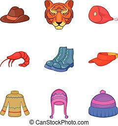 Hunt down icons set, cartoon style