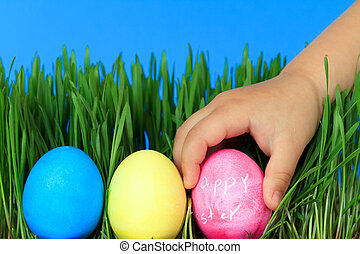 hunt for easter eggs - colorful easter eggs in grass