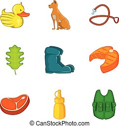 Hunt icons set, cartoon style