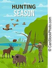 Hunt open season animals, hunter in forest