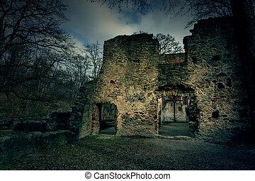 hunted eerie dark Pauline monastery ruin on the hungarian hiking trail near Badacsony .