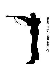 rifle  - Hunter aiming a rifle on white