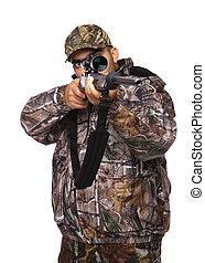 Hunter aiming a rifle