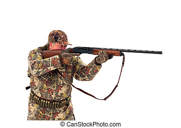 Male hunter in camouflage aiming at his target or prey with his gun. Isolated on white background