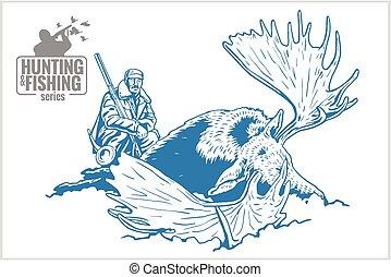 Hunter killed elk - old vintage illustration