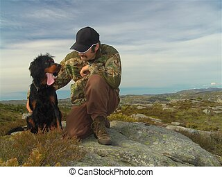 Hunter and his dog - A hunter and his Gordon Setter (birddog...