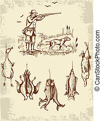 Vintage hand drawn wild animals and hunter