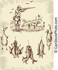 Hunter and wild animals - Vintage hand drawn wild animals...