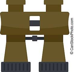 Hunter binoculars icon, flat style