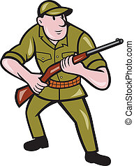 Illustration of a hunter carrying rifle facing front on isolated background done in cartoon style.