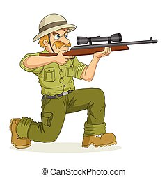 Hunter - Cartoon illustration of a hunter aiming a rifle