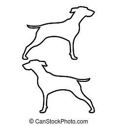 Hunter dog or gundog icon black color illustration flat...