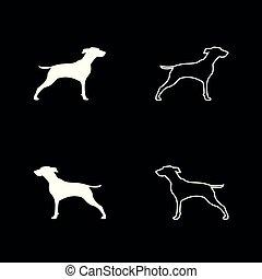 Hunter dog or gundog icon set white color illustration flat...