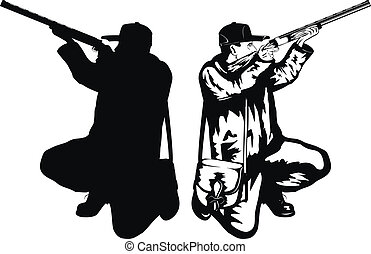 hunter - Vector illustration hunter with rifle and...