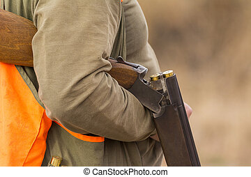 Hunter hunting in beautiful nature close up picture