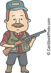 Illustration of a Man Dressed in Hunting Gear Carrying a Rifle