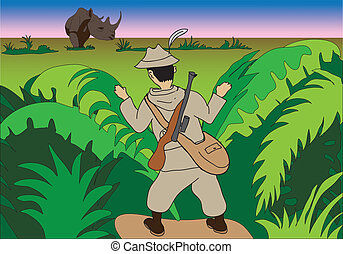 hunter in jungle