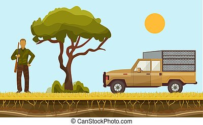 Hunter in safari vector illustration. Hunterman character in Africa with hunting rifle shooting and safari caged car on african layered surface with baobab tree.