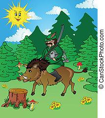 Hunter in wood - vector illustration.