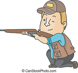 Illustration of a Man Dressed in Hunting Gear Taking Aim with His Rifle