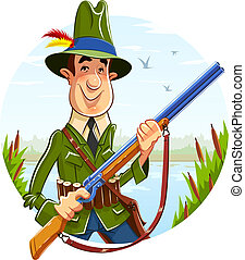 Hunter man with rifle on river background