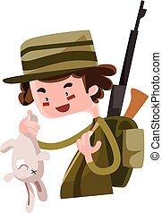 Hunter shoot wild bunny