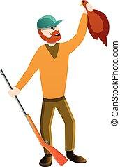 Hunter shooting a duck icon, cartoon style