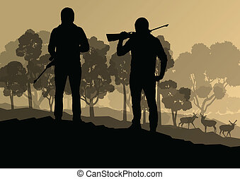Hunter silhouette background landscape vector concept with forest and deer in it for poster