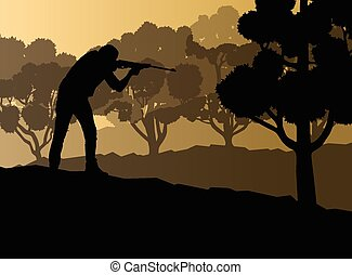 Hunter silhouette background landscape vector concept with...
