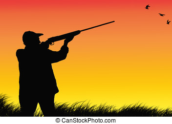 hunter silhouette - illustration, colorful sunset and hunter...