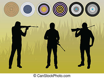 Hunter silhouette vector background concept with aims